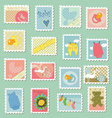 Postage stamps with baby theme vector image vector image