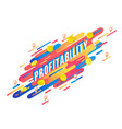 profitability word isometric design with letters vector image vector image