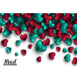 Realistic 3D Colorful Red and turquoise Romantic vector image vector image