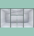 realistic store door glass double office entrance vector image vector image