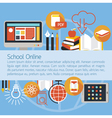 School Online E-Learning Objects Layout Background vector image vector image