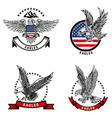 set emblems with eagles on usa flag vector image vector image