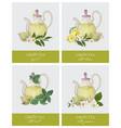 set of labels or tags with elegant glass teapot vector image
