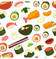 sushi and noodles japanese cuisine seamless vector image vector image