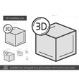 Three D modelling line icon vector image