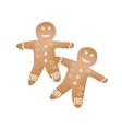 Two Traditional Christmas Homemade Gingerbread Man vector image vector image
