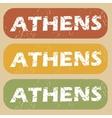 Vintage Athens stamp set vector image vector image