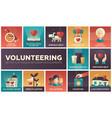 volunteering - set of flat design infographics vector image