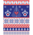 Xmas Nordic tall pattern with angels in white blue vector image vector image