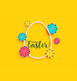yellow happy easter background with egg and flower vector image