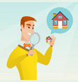 young caucasian man looking for a house vector image vector image