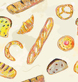 Bread and bans seamless pattern for the bakery vector image