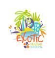 exotic travel company logo design vector image