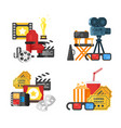 movie design set of concept with cinema icons vector image