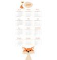 2019 cartoon style childish calendar fox and vector image vector image