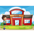 A boy in front of the school building vector image vector image