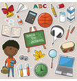 African-American school boy with tools vector image