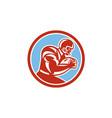 American Football Player Running Circle Retro vector image vector image