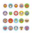 Animals Face Avatar Icons 1 vector image