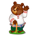 animated bear in clothes isolated on white vector image