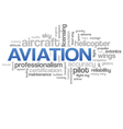 Aviation Word Cloud Blue Bubble Tags Tree vector image vector image