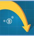 bitcoin market crash graph on blueprint vector image vector image