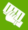 brick in a hand icon green vector image vector image