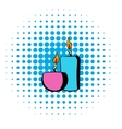 Burning candles icon comics style vector image