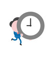 businessman character running and carrying clock vector image