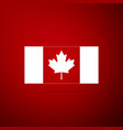 canada flag icon isolated on red background vector image vector image