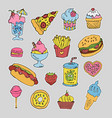 cartoon fast food stickers set vector image vector image