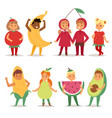 cartoon kids fruits festive costume boys and girls vector image vector image