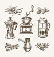 coffee and tea sketch vector image vector image