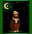 cute cartoon bear in sleeping hat with cup on moon vector image vector image