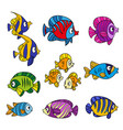 cute cartoon sea fishes outlined isolated on a vector image vector image
