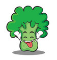 ecstatic broccoli chracter cartoon style vector image vector image