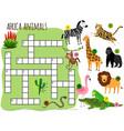 exotic african animals crossword vector image vector image