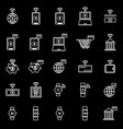 fintech line icons on black background vector image vector image