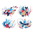 fishing sport isolated abstract icons fishermen vector image vector image