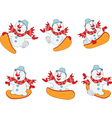 Funny Snowman for you Design Snowboarding vector image vector image