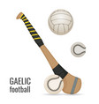 gaelic football club and balls icon set irish vector image vector image