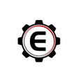 gear solution logo letter e vector image vector image