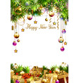 glass christmas evening balls gifts fir trees on vector image