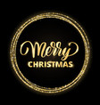 gold and black merry christmas card with hand vector image vector image