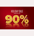 golden holiday sale 90 percent off vector image
