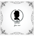 Gray background with black silhouette of lady vector image vector image