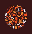 halloween background with witches pumpkins vector image vector image