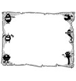 halloween frame old scroll sheet with monsters vector image
