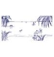 hand drawn seaside landscape tropical resort vector image