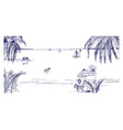hand drawn seaside landscape tropical resort with vector image vector image